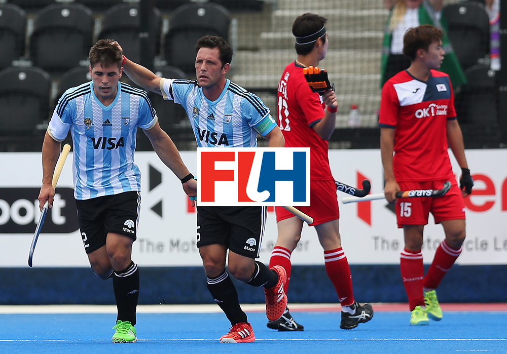 LONDON, ENGLAND - JUNE 15:  Gonzalo Peillat of Argentina (2) celebrates as he scores their first goal during with Pedro Ibarra of Argentina during the Pool A match between Korea and Argentina on day one of Hero Hockey World League Semi-Final at Lee Valley Hockey and Tennis Centre on June 15, 2017 in London, England.  (Photo by Alex Morton/Getty Images)