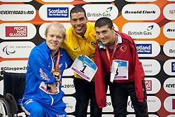 DIAS Daniel, MULLEN Andrew, EROGLU Beytullah BRA, GBR, TUR at 2015 IPC Swimming World Championships -  Men's 50m Backstroke S5 PODIUM