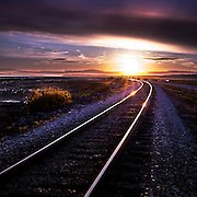 Sunset over the train tracks by Potter Marsh in Anchorage AK