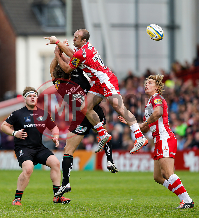 London Irish Full Back Andrew Fenby and Gloucester Full Back Charlie Sharples collide going for a high ball - Photo mandatory by-line: Rogan Thomson/JMP - 07966 386802 - 09/05/2015 - SPORT - RUGBY UNION - Gloucester, England - Kingsholm Stadium - Gloucester Rugby v London Irish - Aviva Premiership.