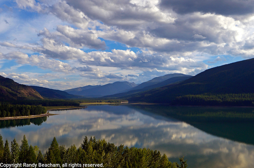 The South Fork Flathead River at the lower end of the Hungry Horse Resevoir in late summer. Flathead National Forest, northwest Montana. Taken on my way to Silvertip Cabin for my Artisit-in-Wilderness Connection Program residency run by the Flathead National Forest, Hockaday Museum of Art, Bob Marshall Wilderness Foundation and Swan Ecosytem Center.