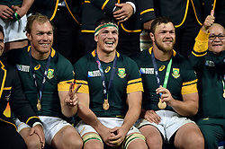 Francois Louw of South Africa is all smiles after the match - Mandatory byline: Patrick Khachfe/JMP - 07966 386802 - 30/10/2015 - RUGBY UNION - The Stadium, Queen Elizabeth Olympic Park - London, England - South Africa v Argentina - Rugby World Cup 2015 Bronze Final.