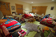 The sisters share a bedroom in their family's Jackson home. Mom tucks them in to bed at about 8:30 p.m.