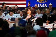 Former Senator Sarah Palin (R-Ak.) speaks to the crowd before U.S. Republican Presidential candidate Donald Trump took the stage at a campaign town hall event in Wausau, Wisconsin April 2, 2016.   REUTERS/Ben Brewer