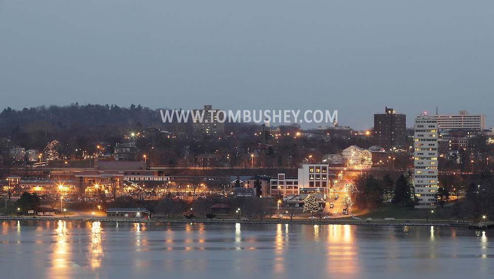 Highland, New York - A view of the the Poughkeepsie waterfront and the Hudson River at twilight on Dec. 10, 2010.