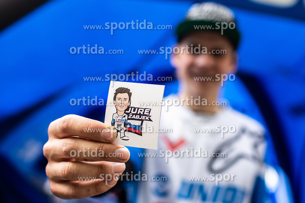 Jure Zabjek showing his personal sticker after Mercedes-Benz UCI Mountain Bike World Cup competition final day in Bike Park Pohorje, Maribor on 28th of April, 2019, Slovenia. Photo by Grega Valancic / Sportida