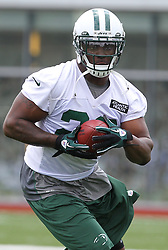 June 14, 2012; Florham Park, NJ, USA; New York Jets running back Shonn Greene (23) runs with the ball during New York Jets Minicamp at the Atlantic Health Training Center.