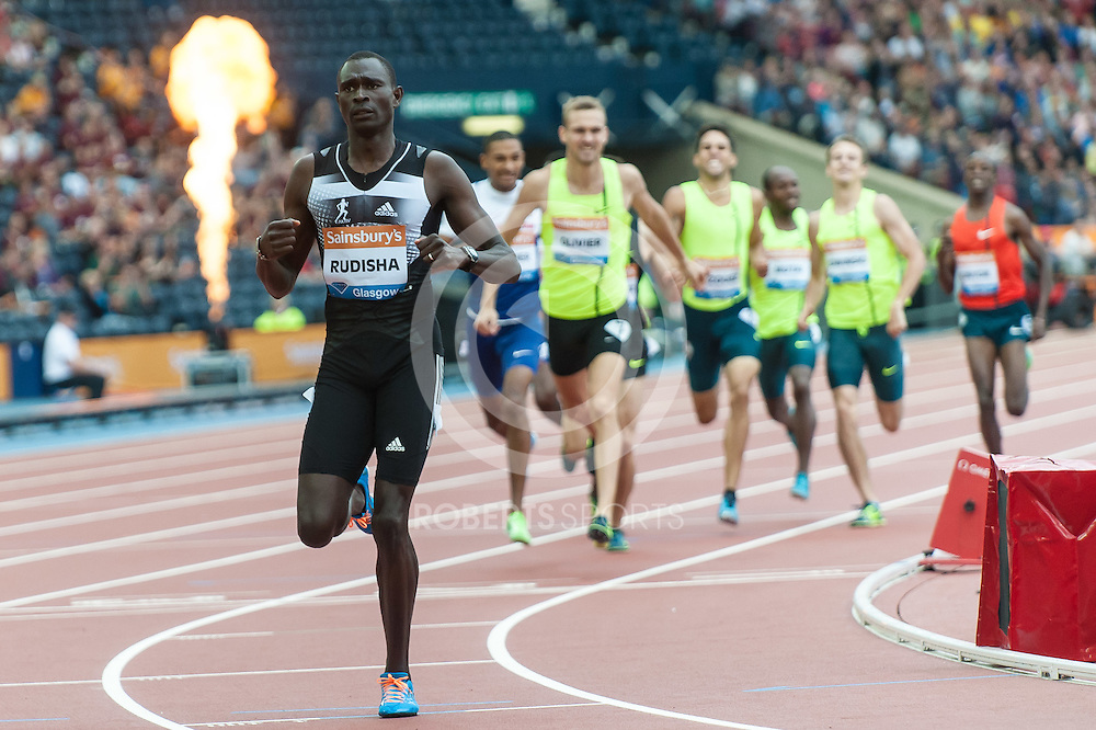 Olympic Champion & World Record Holder David Rudisha wins the men 800m. Action from the IAAF Diamond League Athletics at Hampden Park in Glasgow, 12 July 2014. (c) Paul J Roberts / RobertsSports