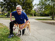 Bowie with his new dad Mark, in a park near his new home in Los Angeles.