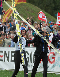 27.09.2015, Energie AG Skisprung Arena, Hinzenbach, AUT, FIS Ski Sprung, Sommer Grand Prix, Hinzenbach, im Bild Tagessieger Gregor Schlierenzauer (AUT) // during FIS Ski Jumping Summer Grand Prix at the Energie AG Skisprung Arena, Hinzenbach, Austria on 2015/09/27. EXPA Pictures © 2015, PhotoCredit: EXPA/ Reinhard Eisenbauer