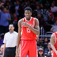 11 February 2015: Houston Rockets center Clint Capela (15) is seen next to Houston Rockets guard Isaiah Canaan (0) during the Los Angeles Clippers 110-95 victory over the Houston Rockets, at the Staples Center, Los Angeles, California, USA.