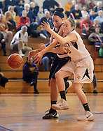 RADNOR PA -  MARCH 8:  Archbishop Wood's Catey McFadden (R) battles with Berks Catholic's Devon Merritt (L) in first half at Archbishop Carroll March 8, 2014 in Radnor, Pennsylvania.  Archbishop Wood defeated Berks Catholic 69-43 to advance to round two. (Photo by William Thomas Cain/Cain Images)