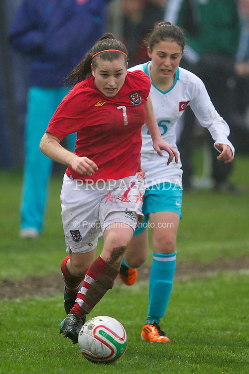 LLANELLI, WALES - Saturday, April 2, 2011: Wales' Megan Wynne in action against Turkey during the UEFA European Women's Under-19 Championship Second Qualifying Round (Group 3) match at Richmond Park. (Photo by David Rawcliffe/Propaganda)