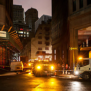November 2, 2012 - New York, NY : Trucks continued to pump water from flooded sections of lower Manhattan on Thursday night/Friday morning. Here, the scene at the intersection of Broad and South William Streets in lower Manhattan early on Friday morning. CREDIT: Karsten Moran