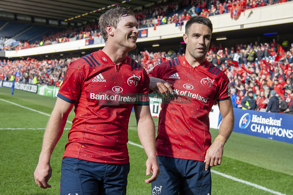 March 30, 2019 - Edinburgh, Scotland, United Kingdom - Tyler Bleyendaal and Conor Murray both of Munster celebrate during the Heineken Champions Cup Quarter Final match between Edinburgh Rugby and Munster Rugby at Murrayfield Stadium in Edinburgh, Scotland, United Kingdom on March 30, 2019  (Credit Image: © Andrew Surma/NurPhoto via ZUMA Press)