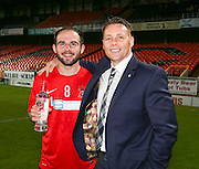 Gordon Deuchars of sponsors GA Engineering presents the man of the match award to Tayport's Alan Tulleth after Tayport beat North End 4-1 in the GA Engineering Cup Final at Tannadice<br /> <br />  - &copy; David Young - www.davidyoungphoto.co.uk - email: davidyoungphoto@gmail.com