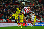 Duncan Watmore of Sunderland FC shoots at goal during the EFL Sky Bet League 1 match between Sunderland and Burton Albion at the Stadium Of Light, Sunderland, England on 26 November 2019.