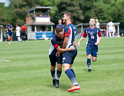 MOON TOWNSHIP, PA - AUGUST 28:  Rafael Bruzual #9 of the Robert Morris Colonials gets a hug from Keane McIvor #10 after scoring a goal in the first half during the game between the Robert Morris Colonials and the Cleveland State Vikings at the North Athletic Complex on August 28, 2016 in Moon Township, Pennsylvania. (Photo by Justin Berl)