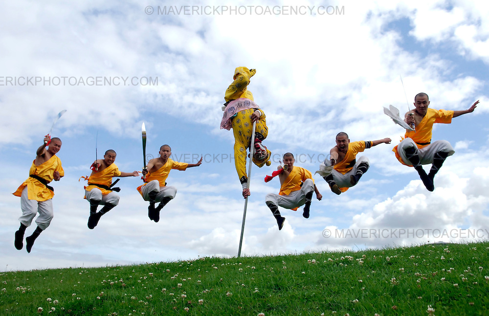 """EDINBURGH, UK - 4th August 2010: Chinese State Circus performers rehearse ahead of their opening night show """"Mulan"""" on Friday 6th August at the Big Top at Ocean Terminal in Edinburgh...Picture shows the Shoalin Monks and the Monkey King (centre)..(Photograph: Richard Scott/MAVERICK)"""