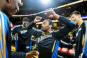 April 13, 2011; Cleveland, OH, USA; Washington Wizards point guard John Wall (2) dances with his teammates prior to the game between the Cleveland Cavaliers and the Washington Wizards at Quicken Loans Arena. Mandatory Credit: Jason Miller-US PRESSWIRE