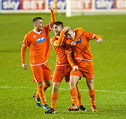 BLACKPOOL, ENGLAND - Wednesday, December 18, 2013: Blackpool's Conor Ready celebrates scoring the first goal against Liverpool to equalise 1-1 during the FA Youth Cup 3rd Round match at Bloomfield Road. (Pic by David Rawcliffe/Propaganda)