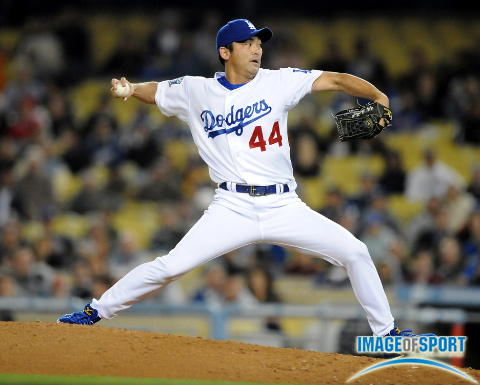 May 5, 2008; Los Angeles, CA, USA; Los Angeles Dodgers reliever Takashi Saito (44) pitches in the ninth inning of 5-1 victory over the New York Mets at Dodger Stadium.