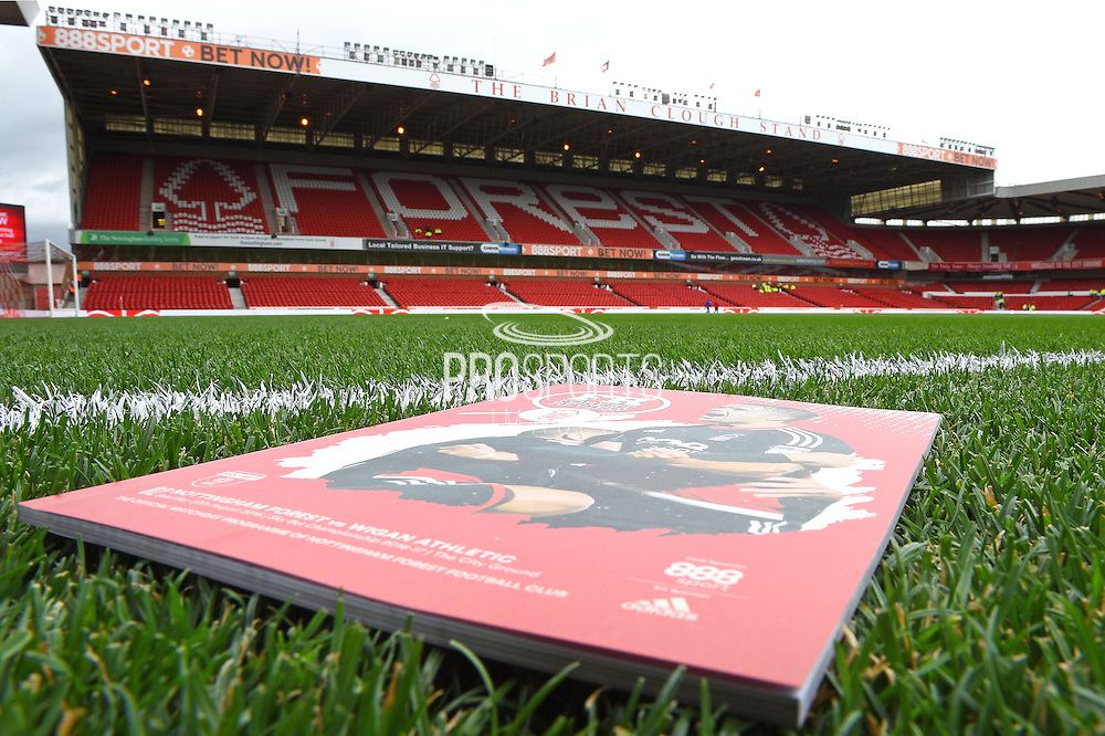 Stadium view with match day programme during the EFL Sky Bet Championship match between Nottingham Forest and Wigan Athletic at the City Ground, Nottingham, England on 20 August 2016. Photo by Jon Hobley.