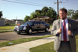 27 August 2015. Andrew P. Sanchez & Copelin-Byrd Multi Service Center, Lower 9th Ward, New Orleans, Louisiana.<br /> President Barack Obama's motorcade departs the area. <br /> Photo credit©; Charlie Varley/varleypix.com.
