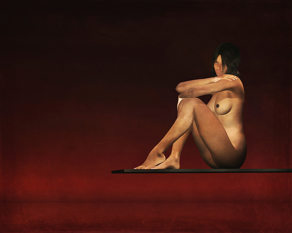 This nude model sits on a plank above the waters. Her mind is clearly consumed by her thoughts, but we have no way of knowing what those thoughts actually entail. We can only study this lovely, fascinating nude study as closely as possible. We can only speculate as to what she might be thinking about, but that is one of the great things about this piece. Even as you appreciate the detail, your mind is fascinated by other aspects. This painting can be purchased as wall art, but it is also available on t-shirts, and across a variety of interior products. .<br />