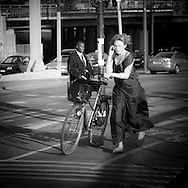 SWEDEN- STOKHOLM cyclist in the city center, Bycicle is very popular in Sweden .///.cyclistes dans le centre ville, Le velo est un moyen de transport tres populaire, pour tous les ages et tous les genres.