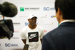 October 25, 2018 - Kallang, SINGAPORE - Abdul Sillah, Naomi Osaka's fitness trainer, talks to the media at the 2018 WTA Finals tennis tournament (Credit Image: © AFP7 via ZUMA Wire)