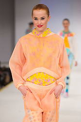 © Licensed to London News Pictures. 01/06/2015. London, UK. Collection by Amy Johnson. Fashion show of the Manchester School of Art at Graduate Fashion Week 2015. Graduate Fashion Week takes place from 30 May to 2 June 2015 at the Old Truman Brewery, Brick Lane. Photo credit : Bettina Strenske/LNP