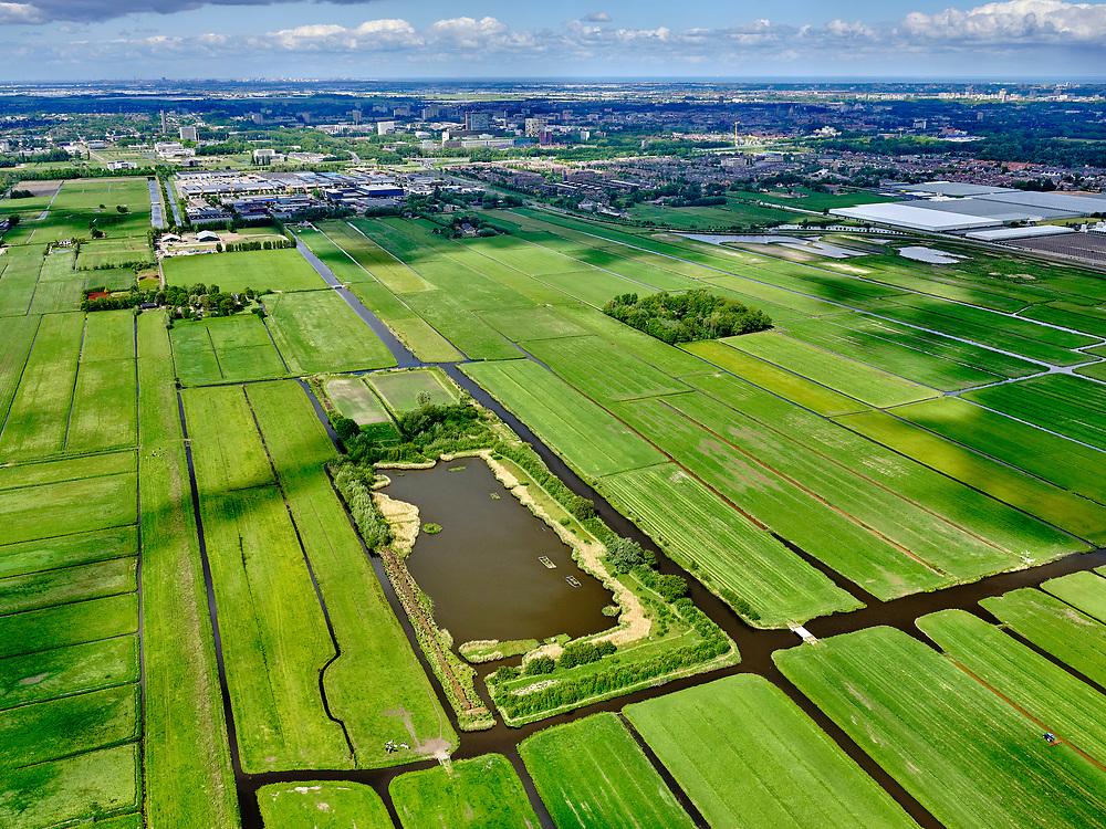 Nederland, Zuid-Holland, Lansingerland; 14–05-2020; Zuidpolder van Delfgauw, tussen Pijnacker en Oude Leede. Eendenkooi. Zicht op Delft.<br /> South polder of Delfgauw, between Pijnacker and Oude Leede. Duck decoy.<br /> <br /> luchtfoto (toeslag op standaard tarieven);<br /> aerial photo (additional fee required)<br /> copyright © 2020 foto/photo Siebe Swart