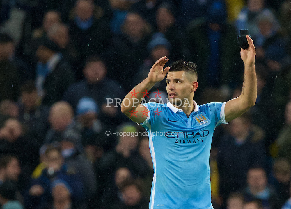 MANCHESTER, ENGLAND - Wednesday, January 27, 2016: Manchester City's goal-scorer Sergio Aguero celebrates a 3-1 (4-2 on aggregate) victory over Everton during the Football League Cup Semi-Final 2nd Leg match at the City of Manchester Stadium. (Pic by David Rawcliffe/Propaganda)