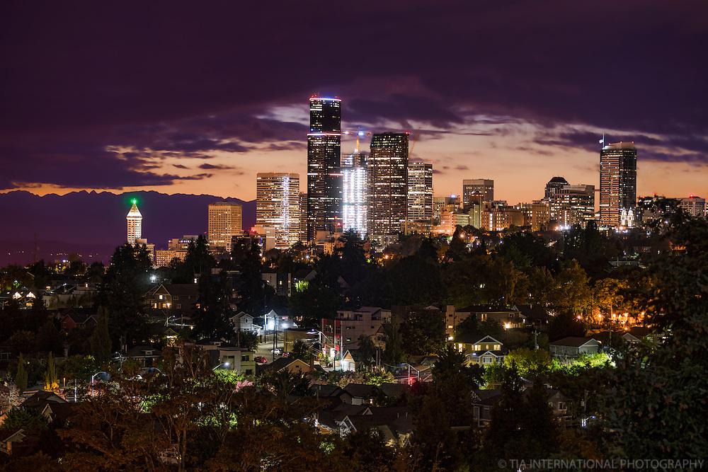 Seattle Skyline, September Sunset