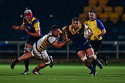 Tom Dodd of Worcester Cavaliers is tackled by Marcus Garratt of Wasps - Mandatory by-line: Craig Thomas/JMP - 23/10/2017 - RUGBY - Sixways Stadium - Worcester, England - Worcester Cavaliers v Wasps - Aviva A League
