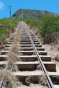 Train tracks going straight up Koko Crater in Hawaii Kai, Hawaii.