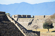 Ruined temples in the ancient Zapotec capital of Monte Alban, Oaxaca, Mexico.