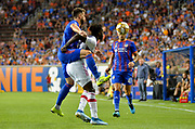 C.J. Sapong (9) of the Chicago fire and Matheiu Deplagne (17) of FC Cincinnati compete for the ball during a MLS soccer game, Saturday, September 21, 2019, in Cincinnati, OH. Chicago tied Cincinnati 0-0. (Jason Whitman/Image of Sport)