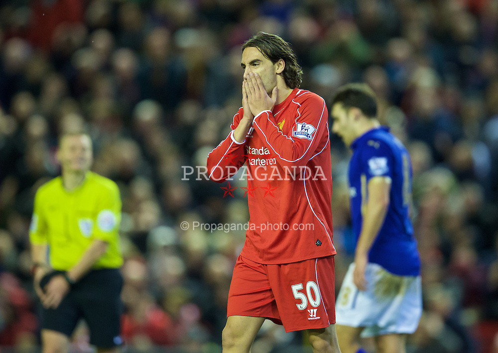 LIVERPOOL, ENGLAND - Thursday, New Year's Day, January 1, 2015: Liverpool's Lazar Markovic looks dejected after missing a chance during the 2-2 draw with Leicester City in the Premier League match at Anfield. (Pic by David Rawcliffe/Propaganda)