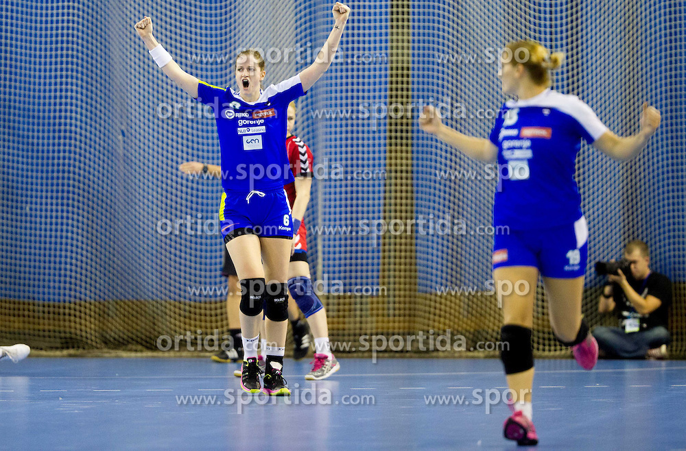 Ana Gros reacts during handball match between Women National teams of Slovenia and Serbia in 2nd Round of Qualifications for 2014 EHF European Championship on October 27, 2013 in Hala Tivoli, Ljubljana, Slovenia. Slovenia defeated Serbia 31-26. (Photo by Vid Ponikvar / Sportida)