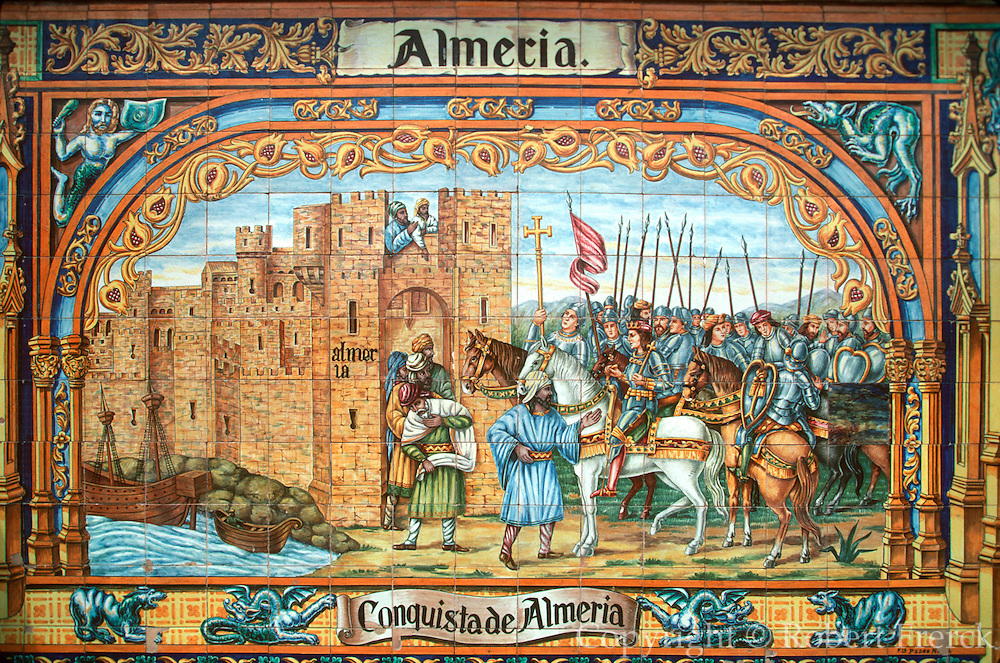 SPAIN, ANDALUCIA, SEVILLE Plaza de Espana, conquest of Almeria