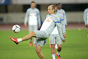BEIJING, CHINA - JUNE 09: (CHINA OUT) <br /> <br /> Dutch national football team player Arjen Robben attends a training session at Olympic sports centre on June 9, 2013 in Beijing, China.<br /> ©Exclusivepix