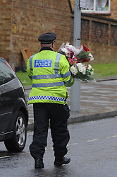© Licensed to London News Pictures. 23/05/2013.Woolwich Soldier Murder crime scene Artillery Place, Woolwich..Woolwich 'terrorist attack': One dead and two seriously injured. Woolwich Barracks,Woolwich..Photo credit :Grant Falvey/LNP