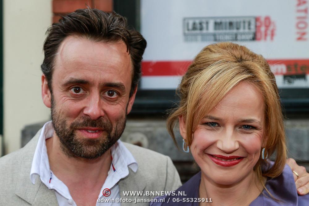 NLD/Amsterdam/20130424- Filmpremiere Boven is het Stil, Lies Visschedijk en partner Marc van Uchelen
