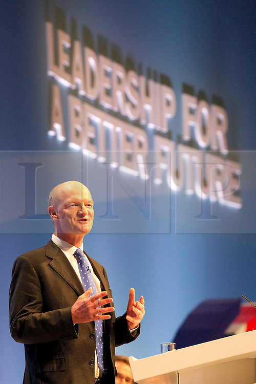 © Licensed to London News Pictures. 04/10/2011. Manchester, UK. David Willetts addresses the Conservative Party Conference in Manchester. Photo credit : Joel Goodman/LNP