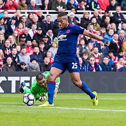 Viktor Valdes - Middlesborough Goalkeeper fumbles to hand Antonio Valencia of Manchester United a gift to seal the points with a late goal. Middlesborough v Manchester United, Barclays English Premier League, 19th March 2017. (c) Paul Cram | SportPix