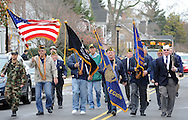 A group of veterans lead the way during Yardley's Veteran's Day parade Wednesday November 11, 2015 in Yardley, Pennsylvania.  (Photo by William Thomas Cain)