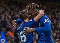 Football - 2019 / 2020 Premier League - Chelsea vs. Arsenal<br /> <br /> Cesar Azpilicueta (Chelsea FC) congratulates Tammy Abraham (Chelsea FC) after his part in helping Chelsea take the lead at Stamford Bridge <br /> <br /> COLORSPORT/DANIEL BEARHAM