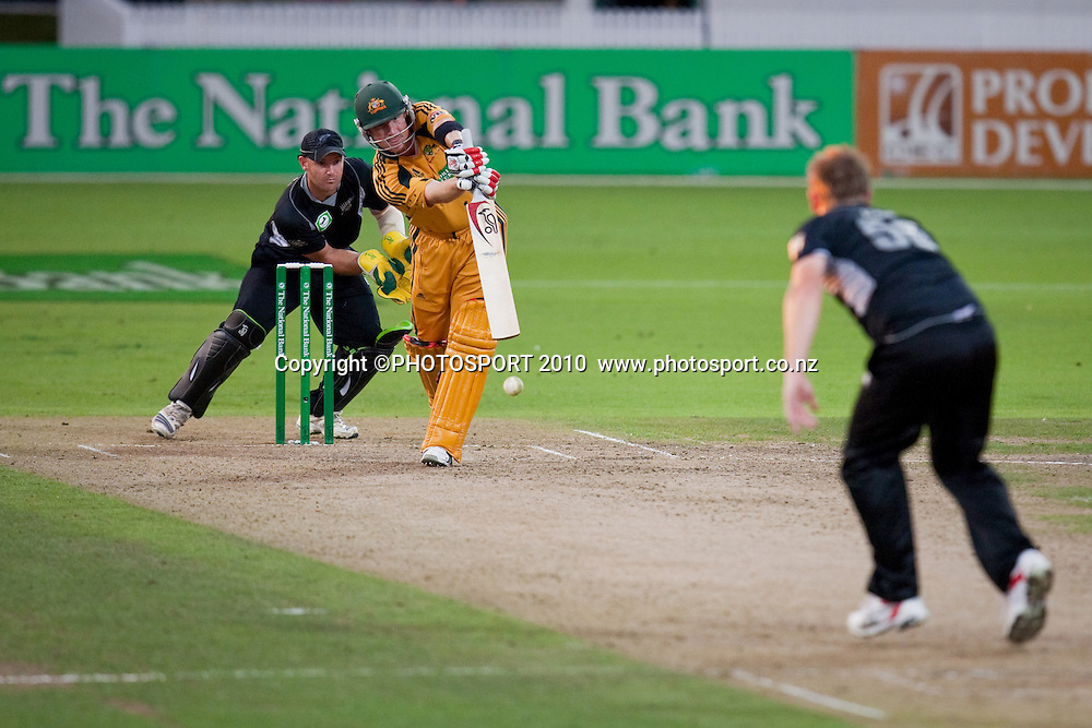 Scott Styris bowls to Brad Haddin during the third one day Chappell Hadlee cricket series match between New Zealand Black Caps and Australia at Seddon Park, won by Australia by 6 wickets in Hamilton, New Zealand. Tuesday 9 March 2010. Photo: Stephen Barker/PHOTOSPORT